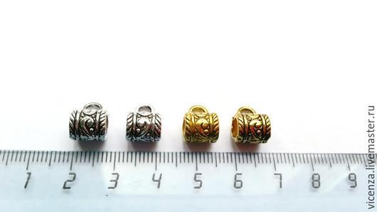 Для украшений ручной работы. Ярмарка Мастеров - ручная работа. Купить Бейл с рисунком 8 х 7 мм (золото, серебро, медь). Handmade.