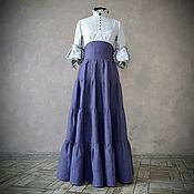 Одежда handmade. Livemaster - original item Linen tiered skirt with a corset belt. Handmade.