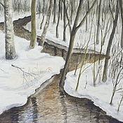 """Картины и панно ручной работы. Ярмарка Мастеров - ручная работа картина """"Зимний ручеек"""" бумага, акварель. Handmade."""