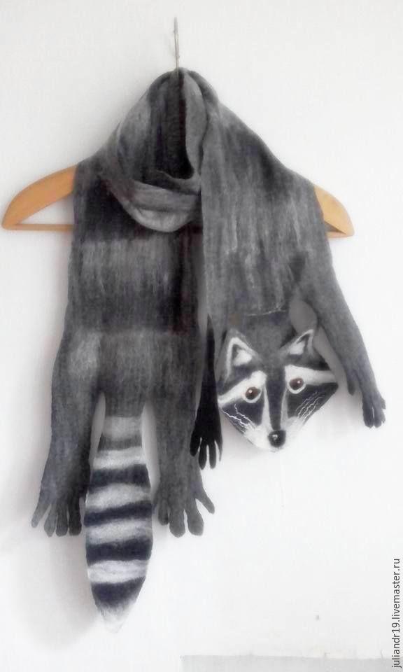 Крошка Енот. Шерстяной мягкий шарф-игрушка для взрослых и детей, Шарфы, Санкт-Петербург, Фото №1