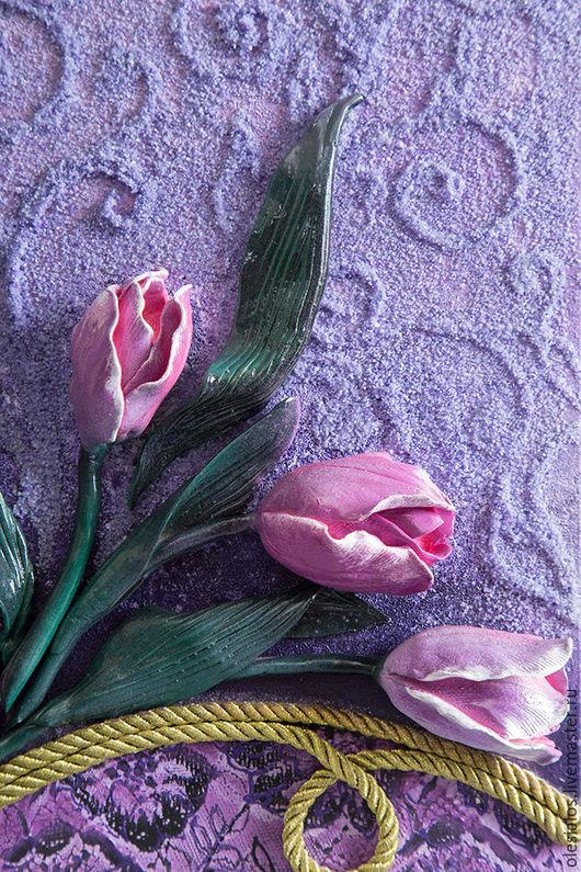 """Картины цветов ручной работы. Ярмарка Мастеров - ручная работа. Купить """"Прекрасные тюльпаны"""". Handmade. Фиолетовый, картина с цветами"""