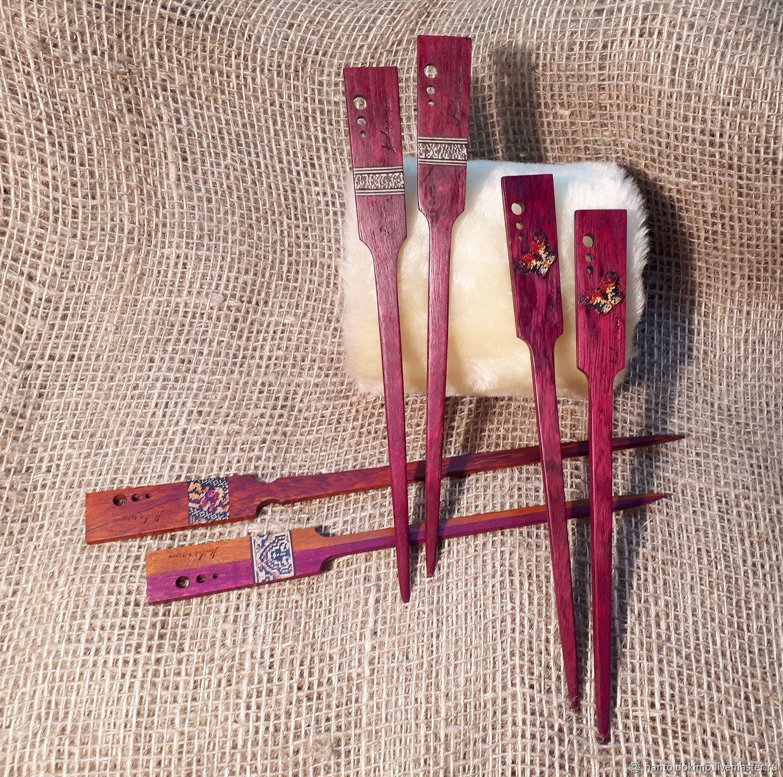 "Amaranth sticks ""Italy"" for hair made of wood inlay mosaic, Hairpins, Kursk,  Фото №1"