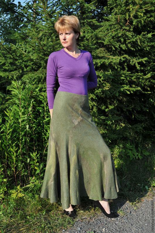 """Юбки ручной работы. Ярмарка Мастеров - ручная работа. Купить Юбка валяная """"Влюбленная в камень"""". Handmade. Зеленый, юбка зимняя"""
