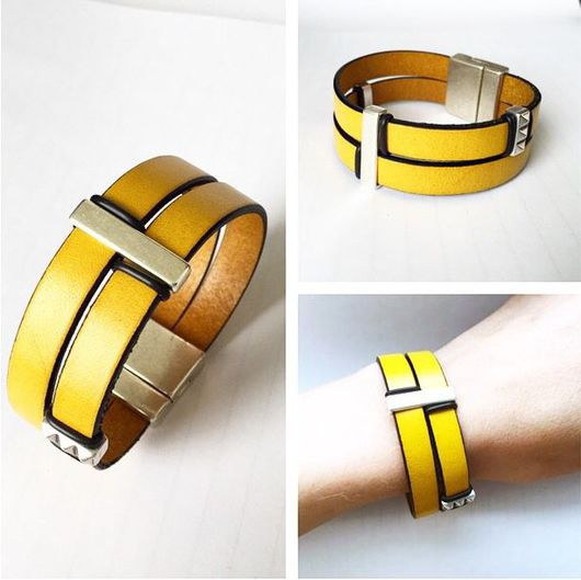 Браслеты ручной работы. Ярмарка Мастеров - ручная работа. Купить Желтый кожаный браслет с узкими бусинами. Handmade. Браслет