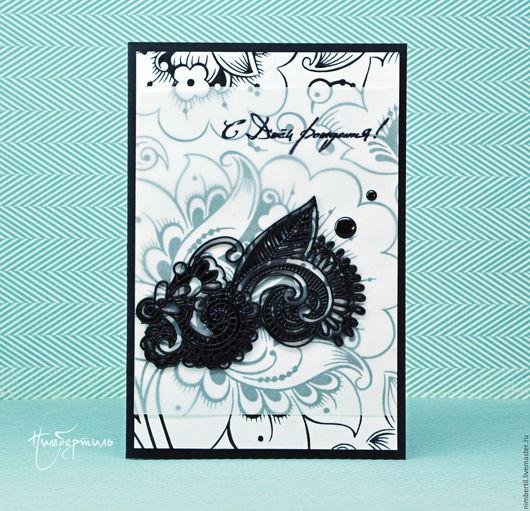 """Открытки на день рождения ручной работы. Ярмарка Мастеров - ручная работа. Купить Черно-белая открытка с днем Рождения - """"Хохлома"""". Handmade."""