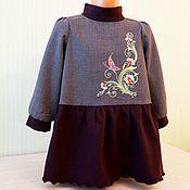 Работы для детей, ручной работы. Ярмарка Мастеров - ручная работа Детское платье теплое с вышивкой. Handmade.