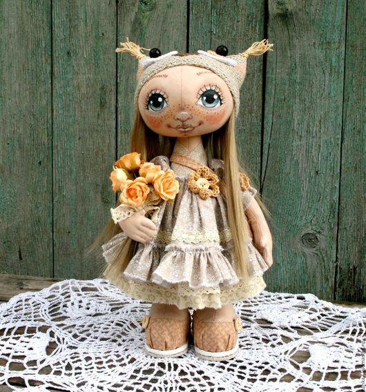 Куклы тыквоголовки ручной работы. Ярмарка Мастеров - ручная работа. Купить Куколка с сумочкой в пастельных тонах. 2550 р. Handmade.