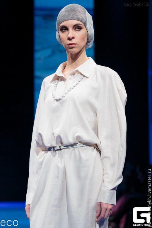 Платья ручной работы. Ярмарка Мастеров - ручная работа. Купить Элегантное платье из хлопка - СВЕЖИЙ ВЕТЕР. Handmade. Белый