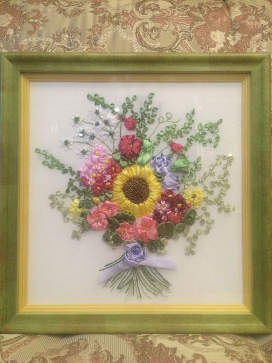 Картины цветов ручной работы. Ярмарка Мастеров - ручная работа. Купить Букет цветов с подсолнухом. Handmade. Цветы атласные