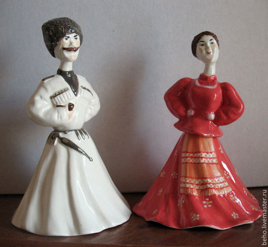 Колокольчики ручной работы. Ярмарка Мастеров - ручная работа. Купить Авторские куклы-колокольчики Кубанские казаки. Handmade. Коралловый, этнический