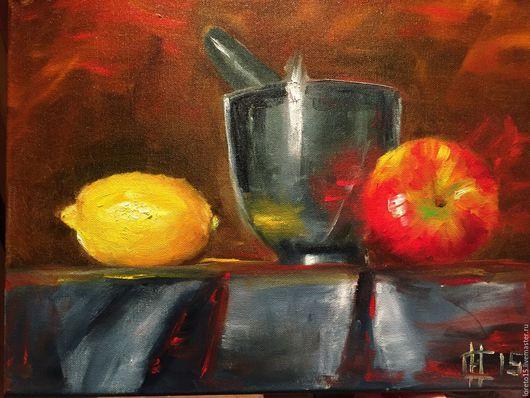 Натюрморт ручной работы. Ярмарка Мастеров - ручная работа. Купить Лимон и яблоко. Handmade. Желтый, подарок, подарок на новый год