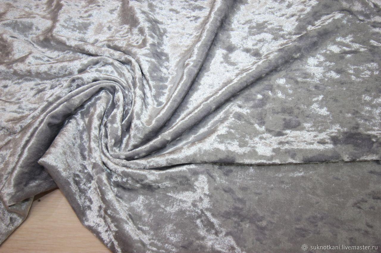 Бархат крэш мрамор Светло-серый, Ткани, Саратов,  Фото №1