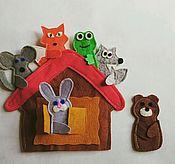 """Куклы и игрушки ручной работы. Ярмарка Мастеров - ручная работа Сказка """"Теремок"""" пальчиковые игрушки. Handmade."""