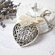 Сумки и аксессуары handmade. Livemaster - original item Heart keychain for Bag Keys Backpack Paris My Love of Vintage Lace. Handmade.