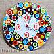 "Clocks handmade. Livemaster - handmade. Buy Часы настенные кварцевые ""Радужный дождь"", стекло,фьюзинг.Gift, wall clock"