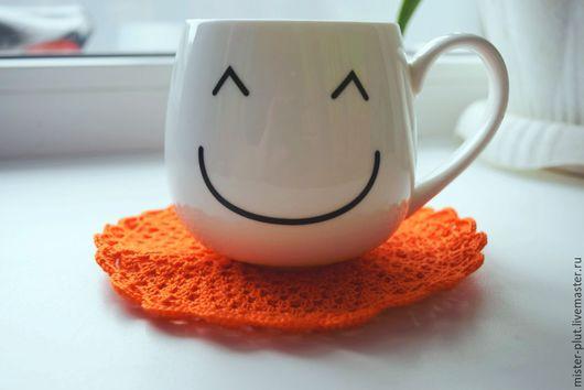 """Текстиль, ковры ручной работы. Ярмарка Мастеров - ручная работа. Купить Салфетка крючком """"Апельсин"""". Handmade. Рыжий, салфетка круглая"""