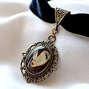 Украшения handmade. Livemaster - original item Black vintage choker & earrings with real flowers in retro style.. Handmade.