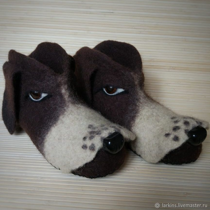 Felted Slippers chuni Dog, Slippers, Moscow,  Фото №1