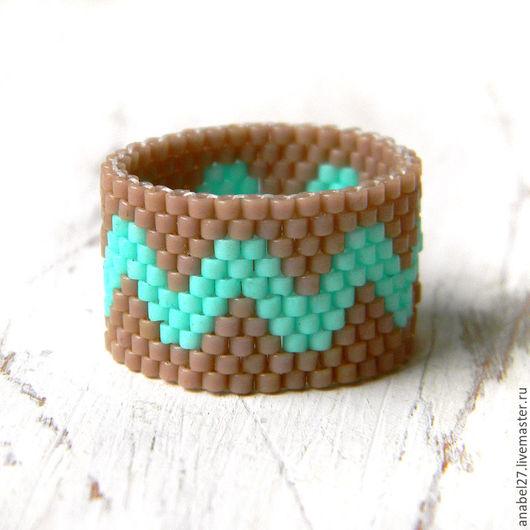 Кольца ручной работы. Ярмарка Мастеров - ручная работа. Купить Кольцо из бисера - широкое кольцо ручной работы с узором. Handmade.