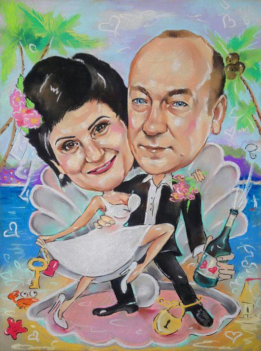 Люди, ручной работы. Ярмарка Мастеров - ручная работа. Купить Шарж на юбилейную годовщину свадьбы. Handmade. Шарж по фото, шарж