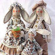 Куклы и игрушки ручной работы. Ярмарка Мастеров - ручная работа заячья семейка в стиле Тильда. Handmade.