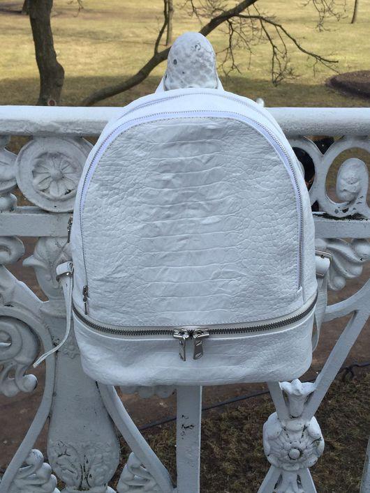 Рюкзаки ручной работы. Ярмарка Мастеров - ручная работа. Купить Белый рюкзак из натуральной кожи.. Handmade. Натуральная кожа, белый