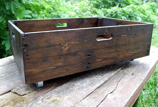 Корзины, коробы ручной работы. Ярмарка Мастеров - ручная работа. Купить Невысокий деревянный ящик. Handmade. Ящик для хранения, дерево