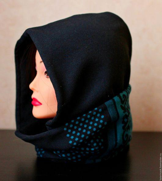 Капюшоны ручной работы. Ярмарка Мастеров - ручная работа. Купить Зимний шарф-капюшон на двойном флисе. Handmade. Черный, флис