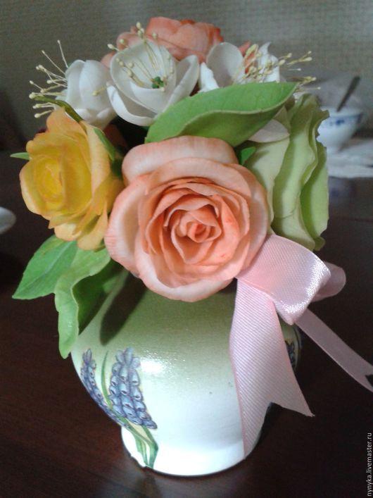 Цветы ручной работы. Ярмарка Мастеров - ручная работа. Купить Простое очарование. Handmade. Бежевый, цветы ручной работы, букет