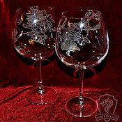Посуда handmade. Livemaster - original item THE CHERRY BLOSSOMS. wine glasses.. Handmade.