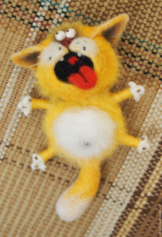 """Броши ручной работы. Ярмарка Мастеров - ручная работа. Купить Брошь Валяная """"Кот Васька"""". Handmade. Рыжий, валяный котенок"""