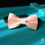 Аксессуары handmade. Livemaster - original item Tie Happiness / pink bow tie brown polka dot. Handmade.