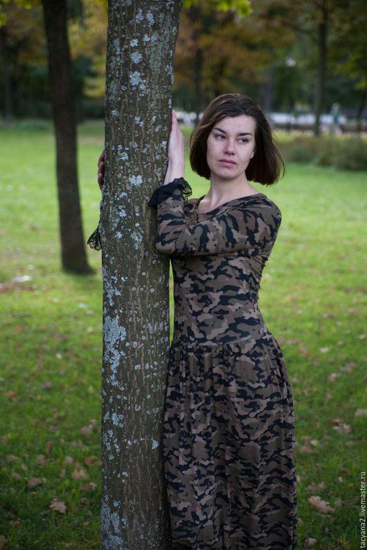 Платья ручной работы. Ярмарка Мастеров - ручная работа. Купить длинное трикотажное платье Пиратка. Handmade. Хаки, манишка