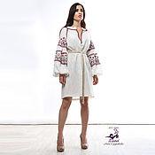 """Платья ручной работы. Ярмарка Мастеров - ручная работа Вышиванка роскошная """"Белый лен"""" с вышивкой в любых цветах. Handmade."""