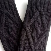 Аксессуары ручной работы. Ярмарка Мастеров - ручная работа Митенки мужские 168,чёрные. Handmade.