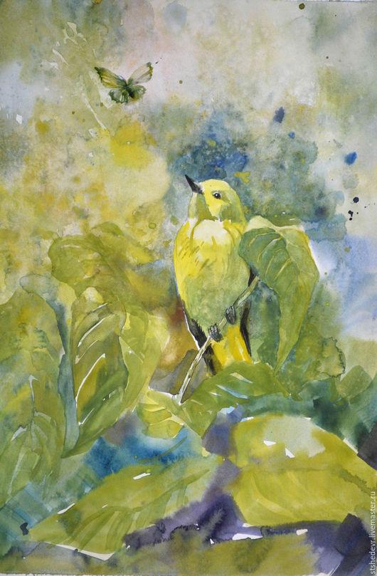 """Пейзаж ручной работы. Ярмарка Мастеров - ручная работа. Купить Акварель """"Иволга и бабочка"""". Handmade. Оливковый, желтый, зеленый цвет"""