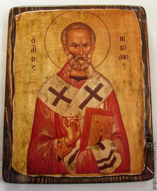 Икона Святой Николай на дереве . Ручная работа, купить икону святого Николая.