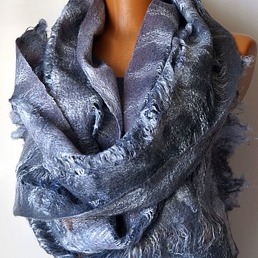 Accessories handmade. Livemaster - original item Felted scarf with Delicate grey, textured soft scarf 30s, 160 cm. Handmade.