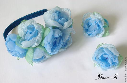 """Детская бижутерия ручной работы. Ярмарка Мастеров - ручная работа. Купить Комплект """" Небесный """". Handmade. Голубой, цветы"""