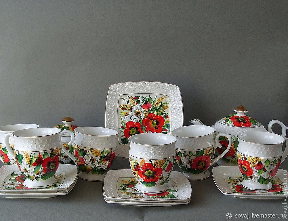 """Сервиз с росписью  двойной мазок """"Летний луг"""", Tea & Coffee Sets, ,  Фото №1"""