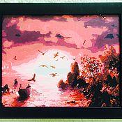 Картины ручной работы. Ярмарка Мастеров - ручная работа Картина акварель «Розовый закат» багетная рама. Handmade.