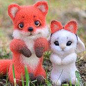 Куклы и игрушки handmade. Livemaster - original item Fox and Bunny felted toy. Handmade.