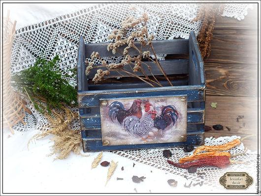 Корзины, коробы ручной работы. Ярмарка Мастеров - ручная работа. Купить Ящик для хранения трав, овощей. Handmade. Синий, кантри
