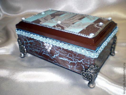 Шкатулки ручной работы. Ярмарка Мастеров - ручная работа. Купить Шкатулка шоколадно-голубая. Handmade. Шоколадный цвет, подарок женщине