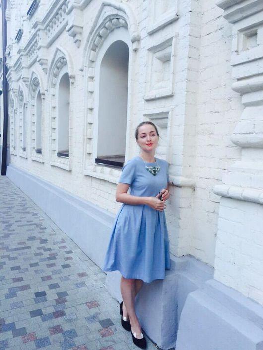 Платья ручной работы. Ярмарка Мастеров - ручная работа. Купить Шерстяное платье с коротким рукавом. Handmade. Голубой, платье миди