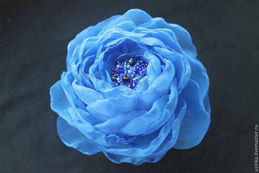 """Броши ручной работы. Ярмарка Мастеров - ручная работа. Купить Цветок-брошь из ткани """"Ярко-синий"""". Handmade. Синий"""