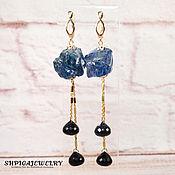 Украшения handmade. Livemaster - original item Gold plated earrings with Aqua quartz and lapis lazuli