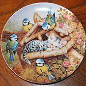 Винтаж handmade. Livemaster - original item Collector`s plates with adorable kittens, Germany, England. Handmade.