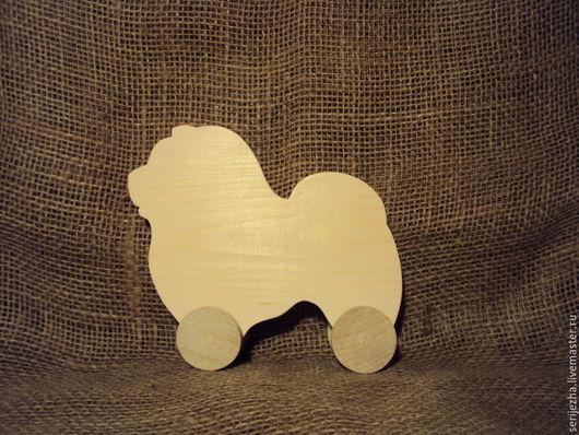 Собака-каталка Чау-чау (большая), деревянная игрушка ручной работы.