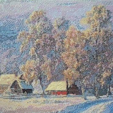 Картины и панно ручной работы. Ярмарка Мастеров - ручная работа Авторская вышивка крестом Вот моя деревня. Handmade.